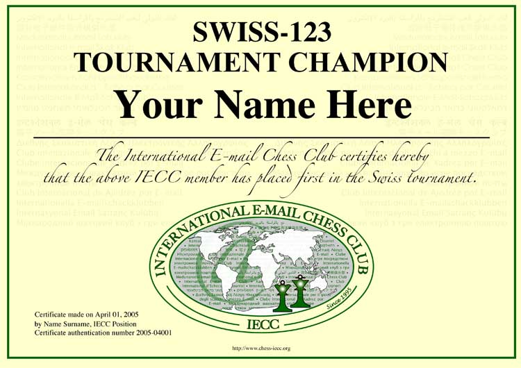International Email Chess Club – Certificate Samples